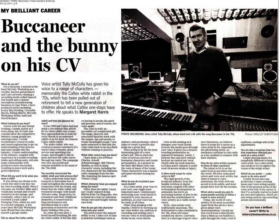 Biccaneer and the bunny on his CV