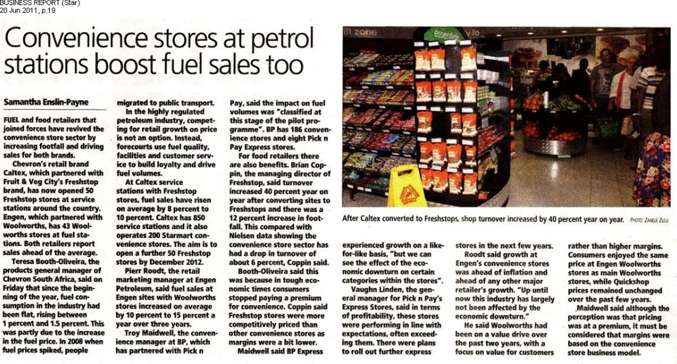 Convenience stores at petrol stations boost fuel sales too