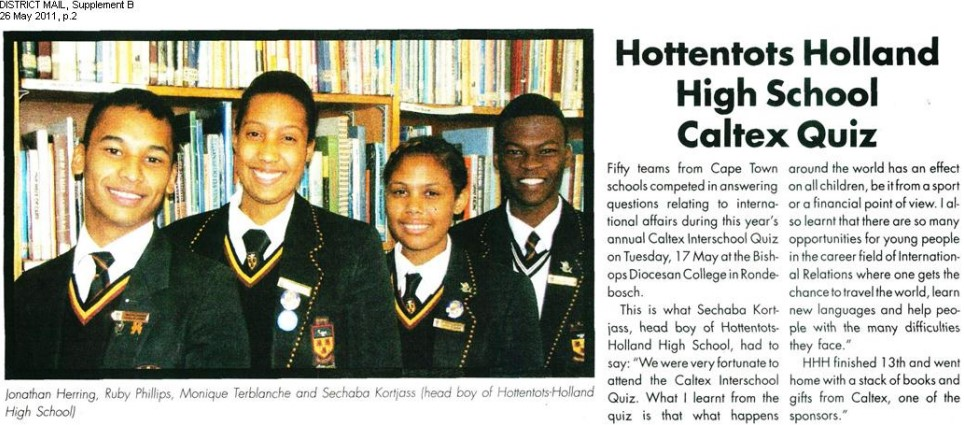 Hottentots Holland High School Quiz
